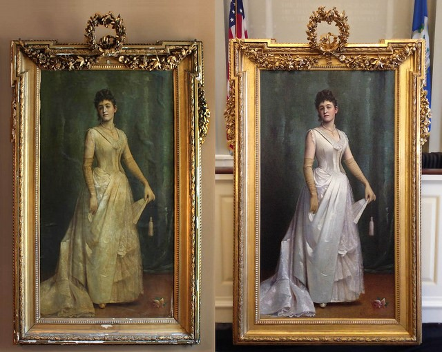 Before and after example of the frame restoration of the portrait of Miss Caroline Welton
