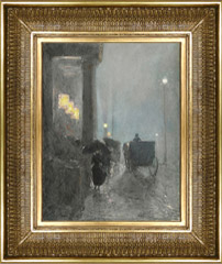 Childe Hassam painting and frame