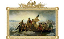 Washington Crossing the Delaware with completed, gilded reproduction frame