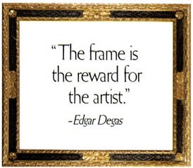 A 19th-century Italian carved, gilded, and embonized panel with quote: 'The frame is reward for the artist.' - Edgar Degas