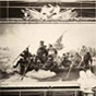 19th century photo by Matthew Brady showing the painting, 'Washington Crossing the Delaware', in the original frame