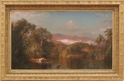 The Huntington's painting Chimborazo, by Frederic Edwin Church, in its new frame