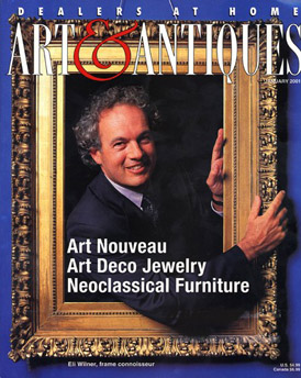Eli Wilner within an antique period frame on the cover of Art & Antiques magazine
