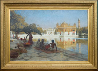 A large Orientalist-style frame for an oil by Edwin Lord Weeks at the Brown University Art Gallery