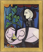 Picasso - Nude, Green Leaves and Bust, painting with frame