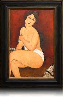 Period frame re-creation, shaped and painted with gilding surrounding a Modigliani painting, Nu Assis Sur un Divan