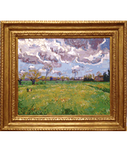 Van Gogh's Under a Stormy Sky painting and frame
