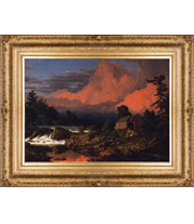 Frederic Church - Rutland Falls, Vermont painting with French-style reproduction frame