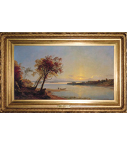 Jasper Cropsey - Autumn Landscape on the Hudson River painting with French-style reproduction frame