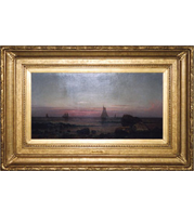 Martin Johnson Heade - Sailing Off the Coast painting with French-style reproduction frame