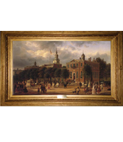Ferdinand Richardt - Independence Hall in Philadelphia painting with French-style reproduction frame