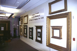 Antique frames in gallery